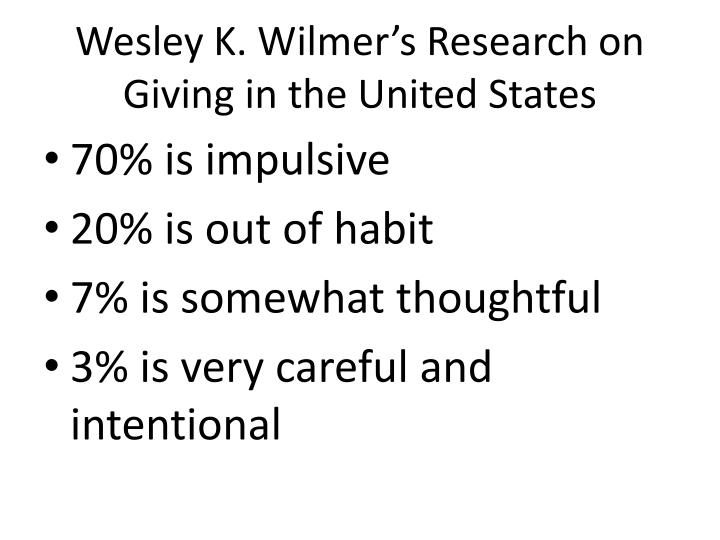 Wesley K. Wilmer's Research on Giving in the United States