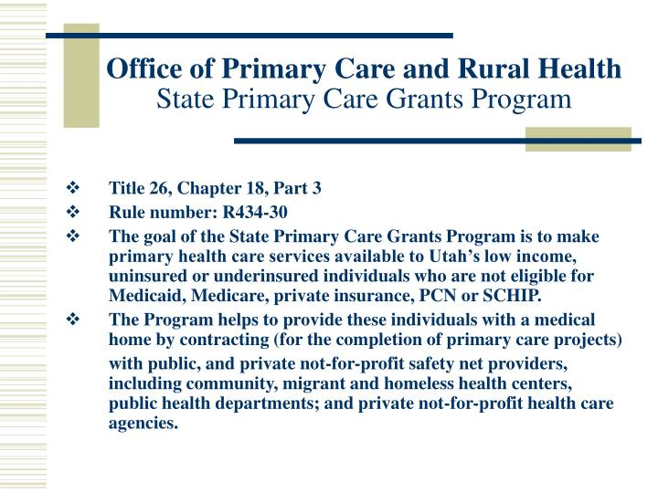 PPT - Office of Primary Care and Rural Health State ...