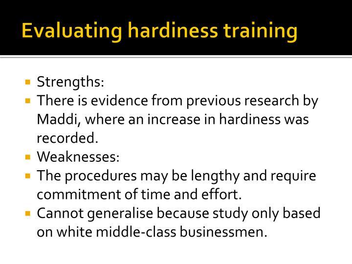 Evaluating hardiness training