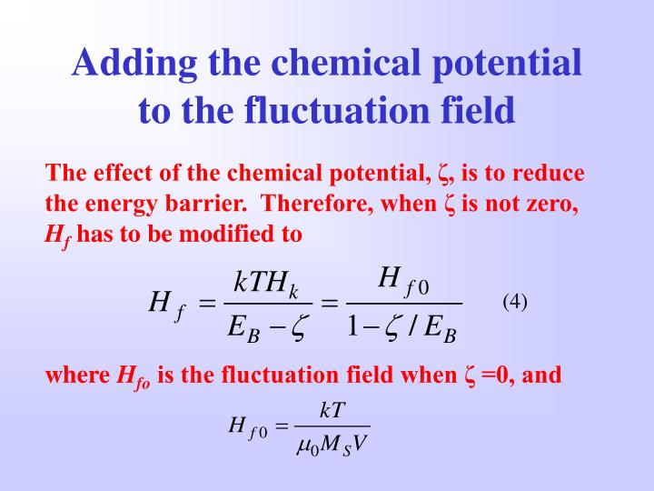 Adding the chemical potential to the fluctuation field
