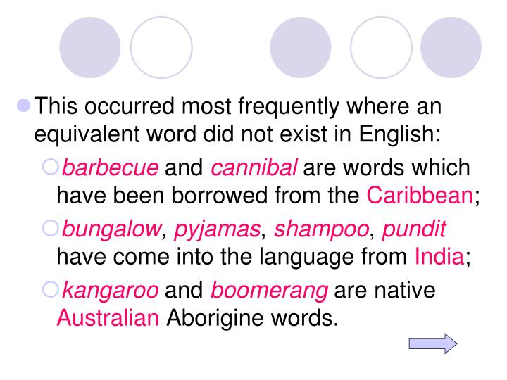 This occurred most frequently where an equivalent word did not exist in English: