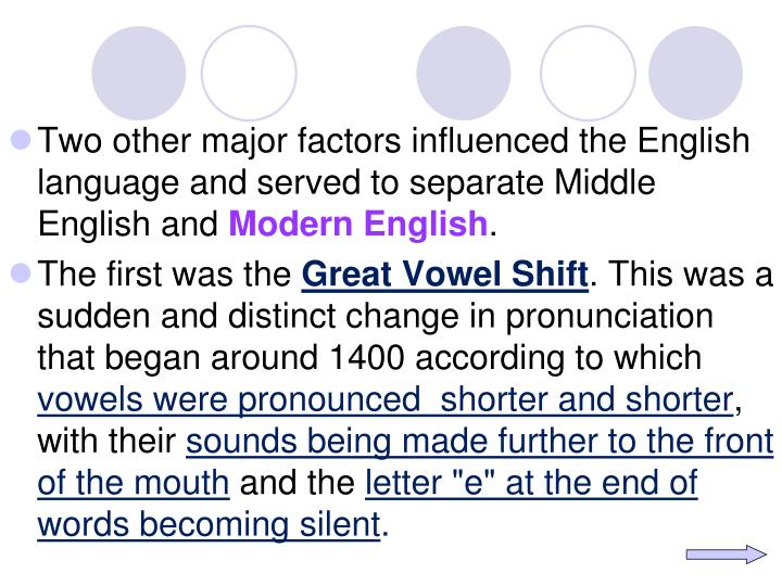 Two other major factors influenced the English language and served to separate Middle English and