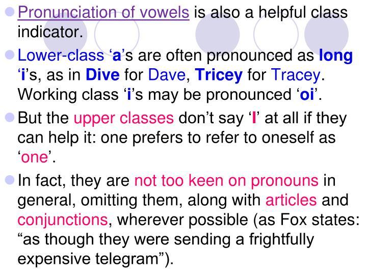 Pronunciation of vowels