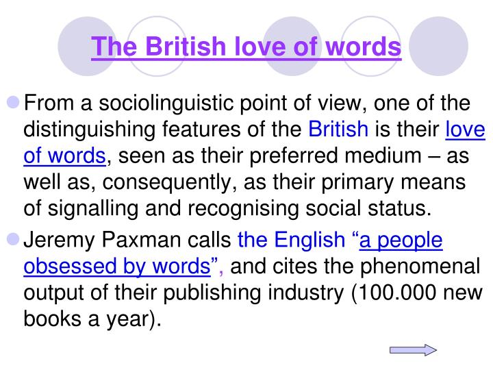 The British love of words