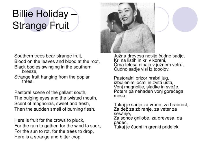 Southern trees bear strange fruit,