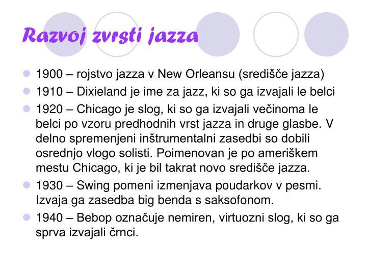 Razvoj zvrsti jazza
