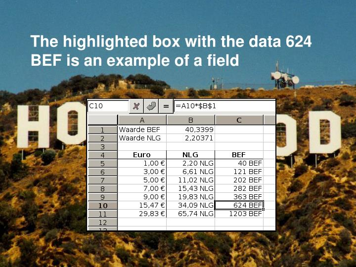 The highlighted box with the data 624 BEF is an example of a field