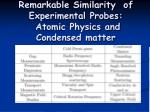 remarkable similarity of experimental probes atomic physics and condensed matter