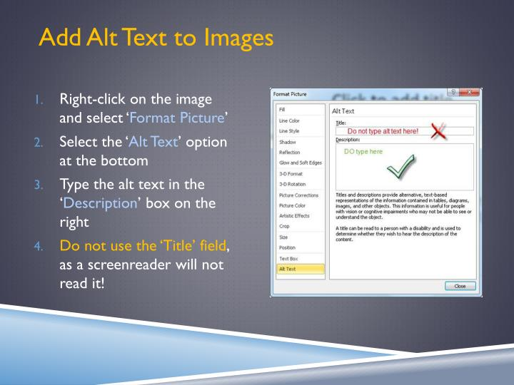 Add Alt Text to Images
