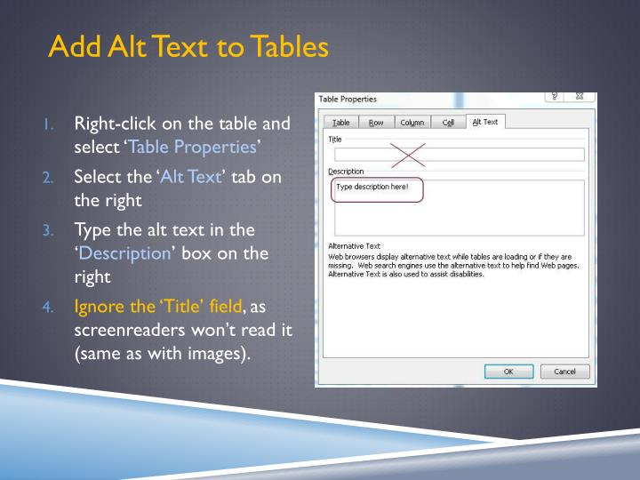 Add Alt Text to Tables
