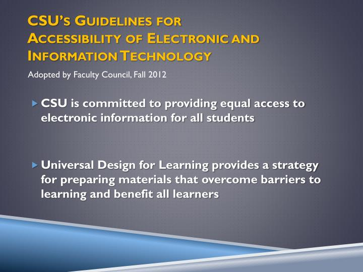 CSU's Guidelines for