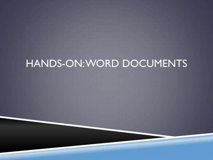 Hands-On: Word Documents