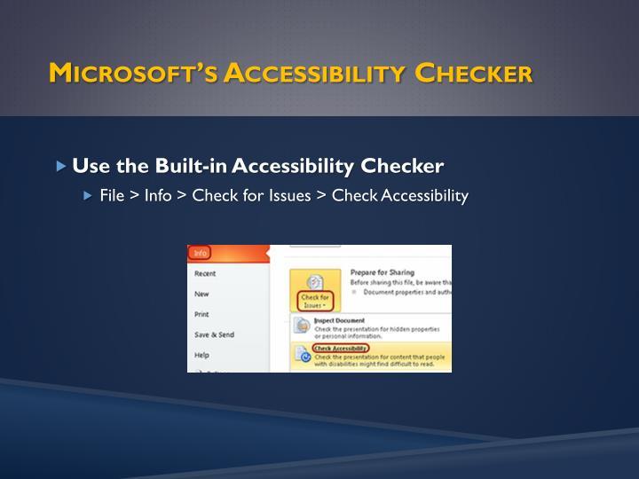 Microsoft's Accessibility Checker