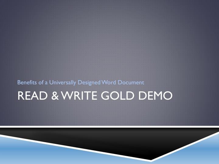Benefits of a Universally Designed Word Document