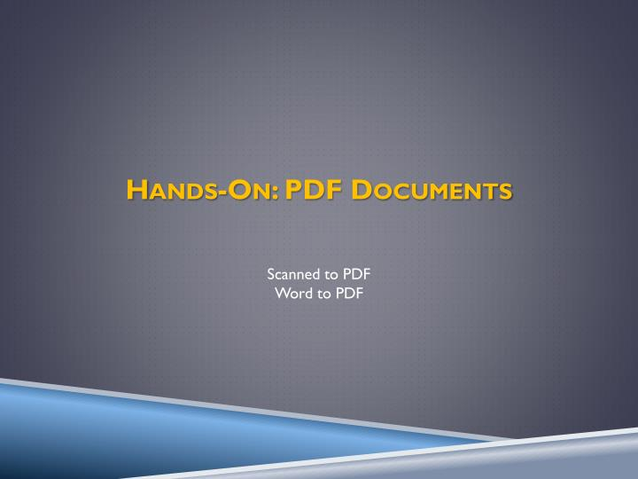 Hands-On: PDF Documents