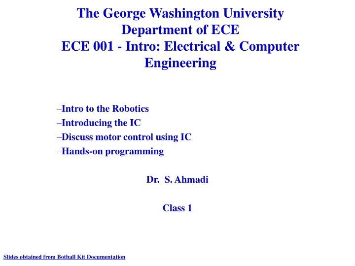 The george washington university department of ece ece 001 intro electrical computer engineering