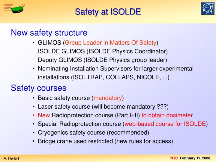 Safety at ISOLDE