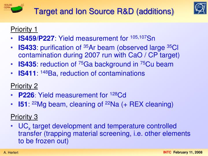 Target and Ion Source R&D (additions)