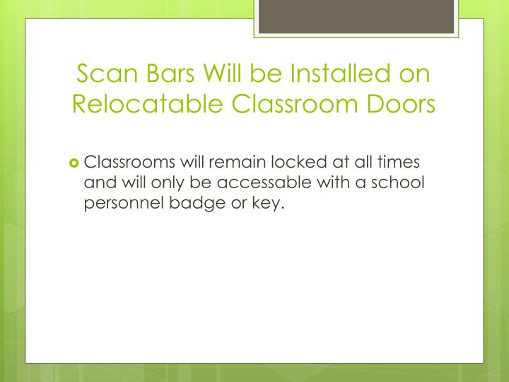 Scan Bars Will be Installed on