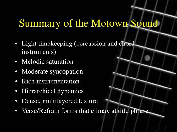 Summary of the Motown Sound