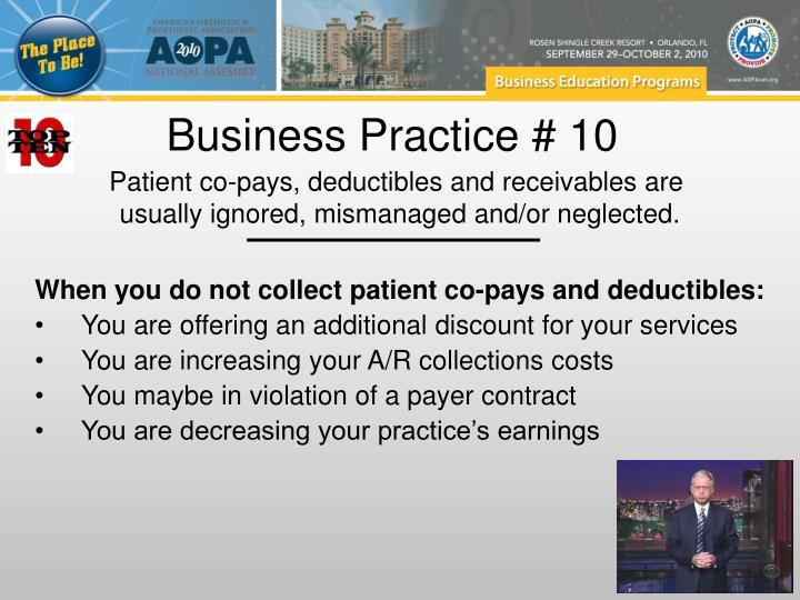Business Practice # 10