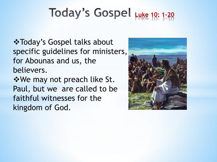 Today s gospel luke 10 1 20