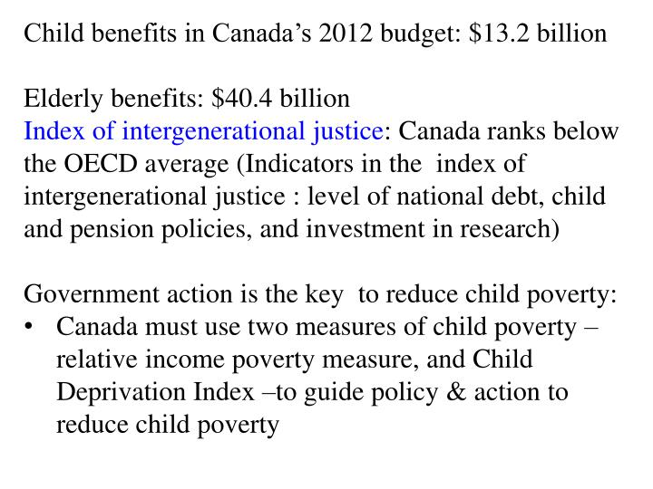 Child benefits in Canada's