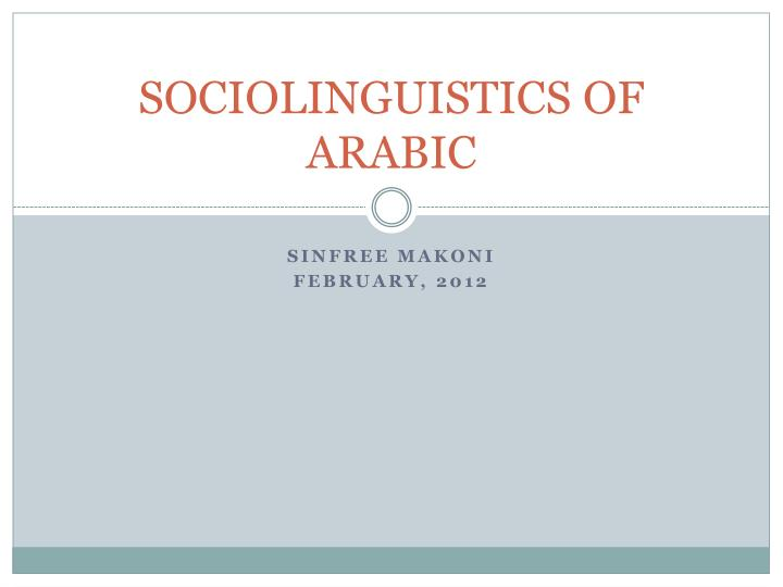 sociolinguistics of arabic n.