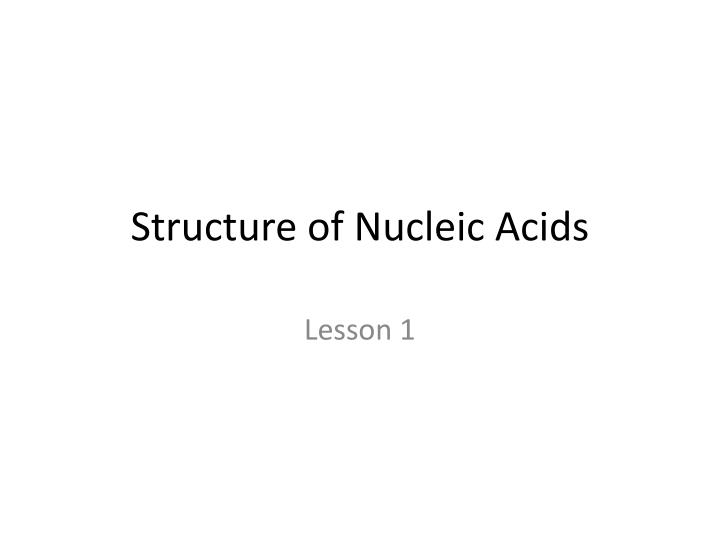 structure of nucleic acids n.