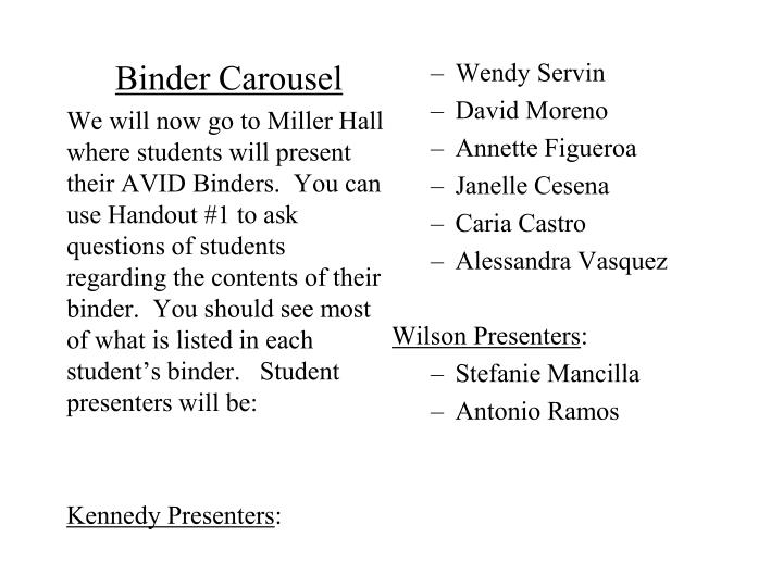 Binder Carousel