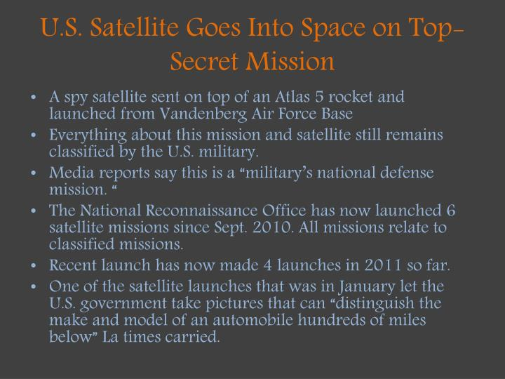 U.S. Satellite Goes Into Space on Top-Secret Mission