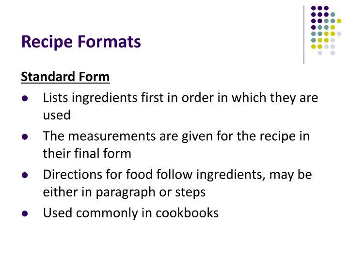 Standard Recipe Form Idealstalist