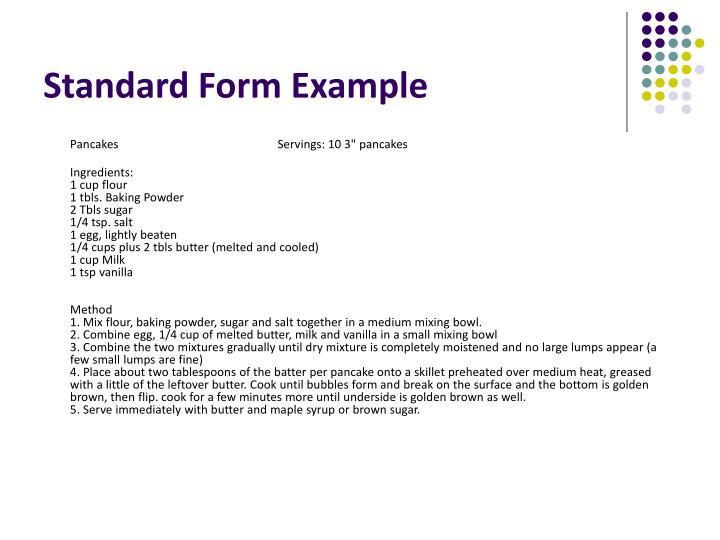 standard form recipe thevillas co
