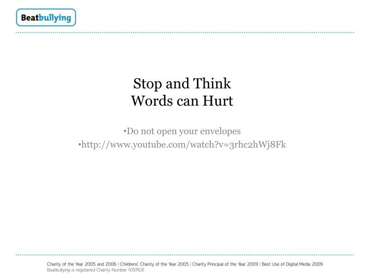 stop and think words can hurt n.
