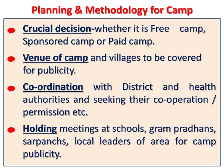 Planning & Methodology for Camp