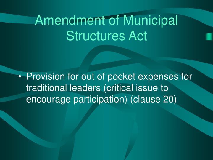 Amendment of Municipal Structures Act
