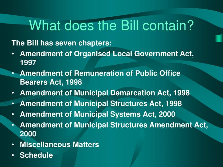 What does the bill contain