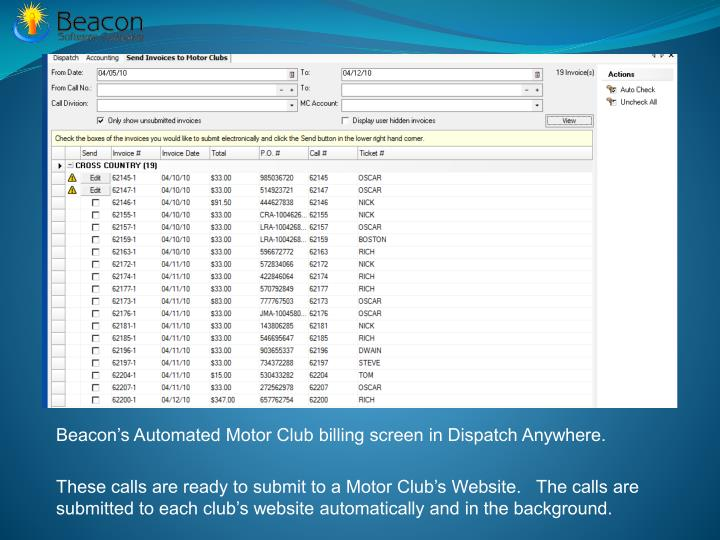 Beacon's Automated Motor Club billing screen in Dispatch Anywhere.