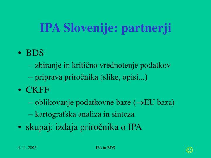 IPA Slovenije: partnerji