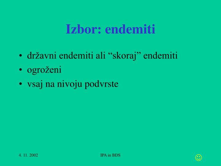 Izbor: endemiti