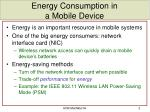 energy consumption in a mobile device