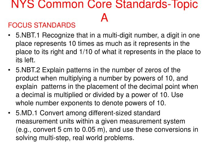 Nys common core standards topic a