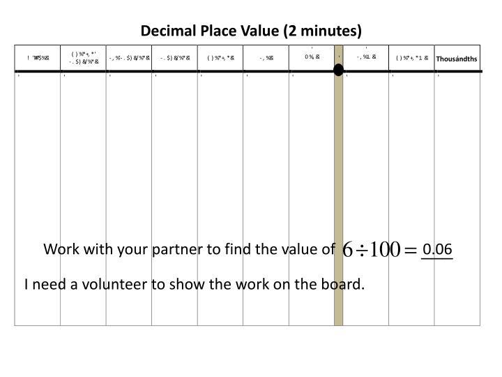Decimal Place Value (2 minutes)