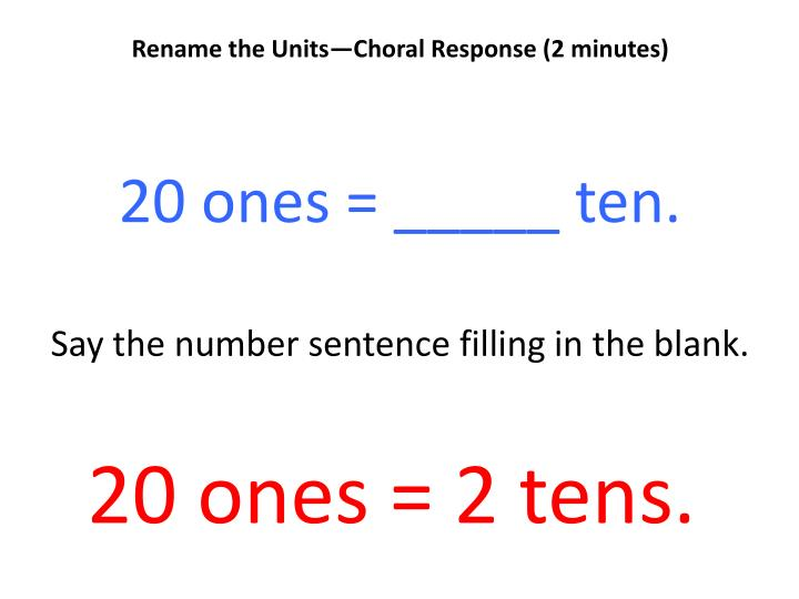 Rename the Units—Choral Response (2 minutes)