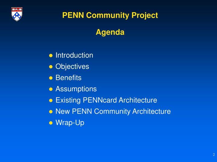 Penn community project agenda