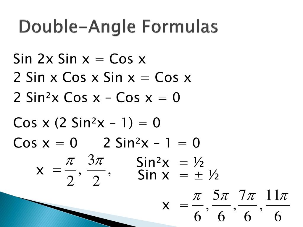 PPT - Double-Angle and Half-Angle Formulas PowerPoint Presentation
