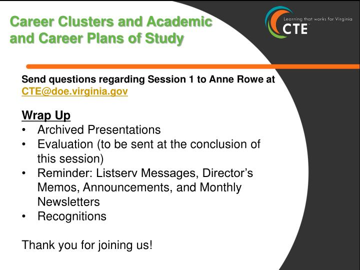 Career Clusters and Academic and Career Plans of Study
