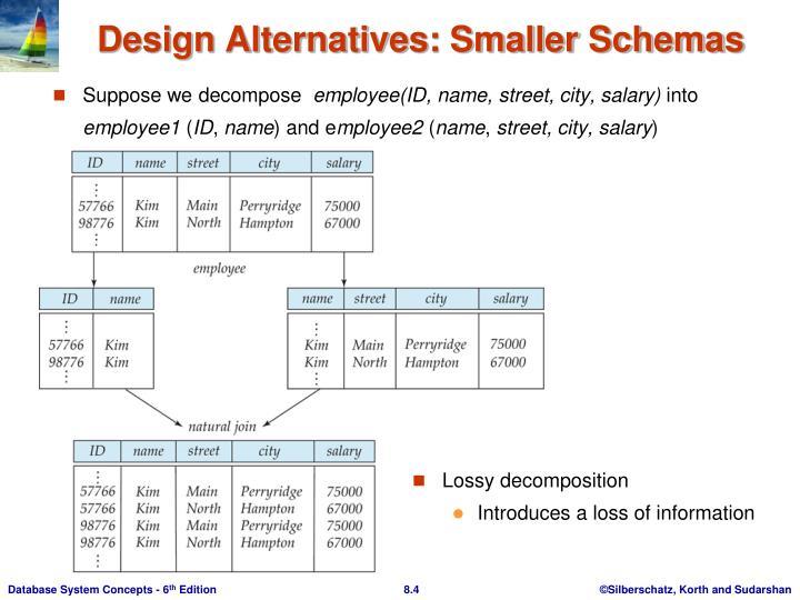 Design Alternatives: Smaller Schemas