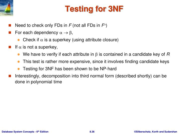 Testing for 3NF