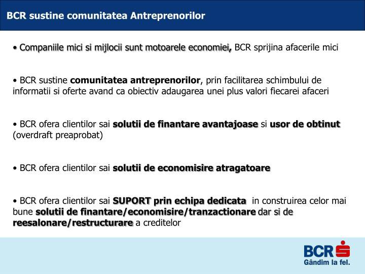 BCR sustine comunitatea Antreprenorilor